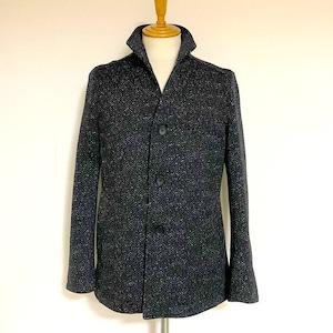 Knit Fleece Stand Collar Blouson Black