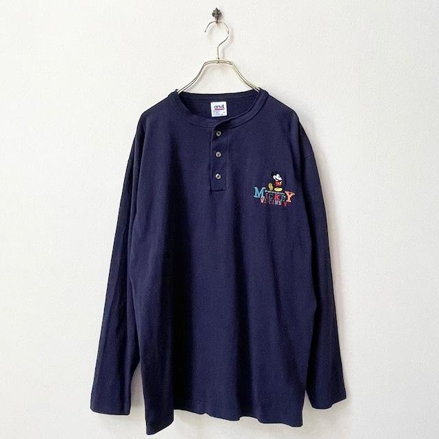 90年代 USA製 anvil ミッキーマウス ヘンリーネック ロングTシャツ 日本 L〜 LL
