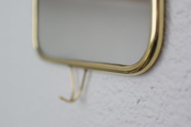 真鍮製フック付きミラー 縦 (※現行品です)