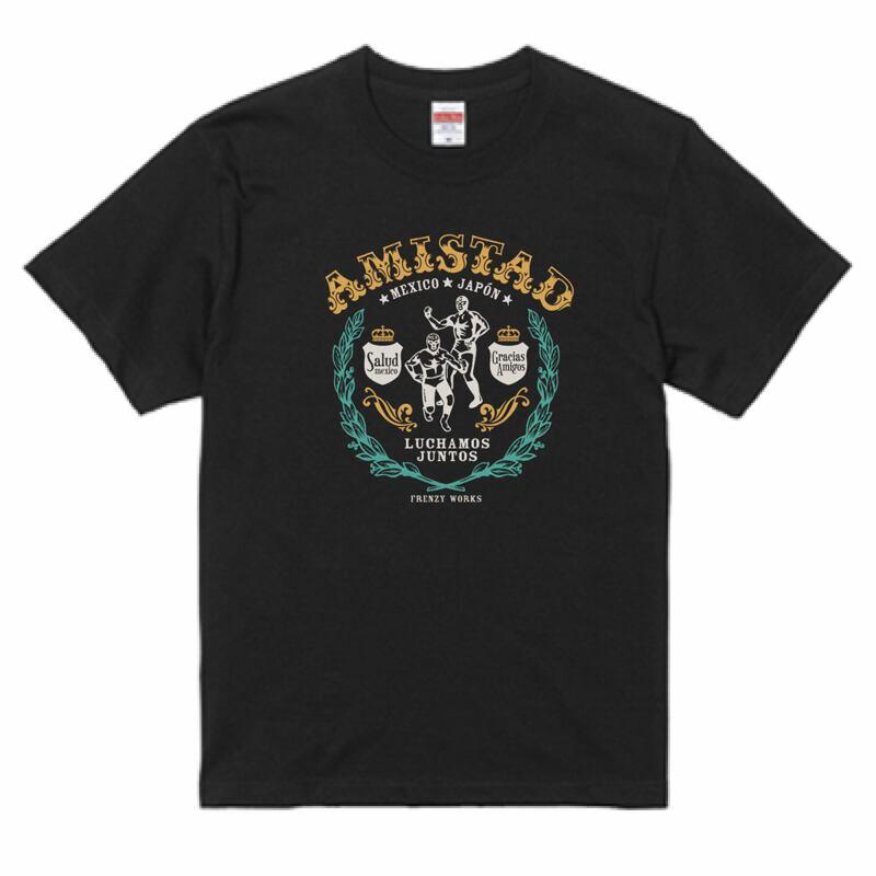 AMISTAD BLACK カラープリント メキシコと日本の友情T 黒Tシャツ