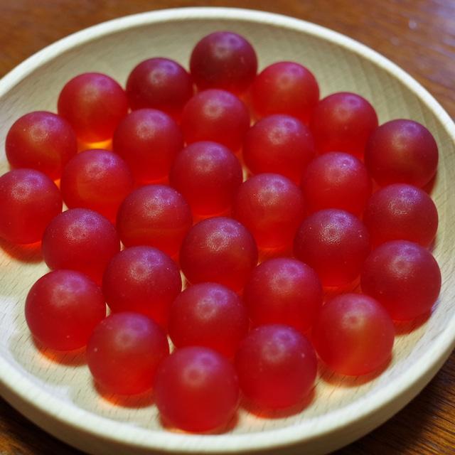 フロストグラスマーブル レッド17㎜ 30個(松野工業社製・国産)
