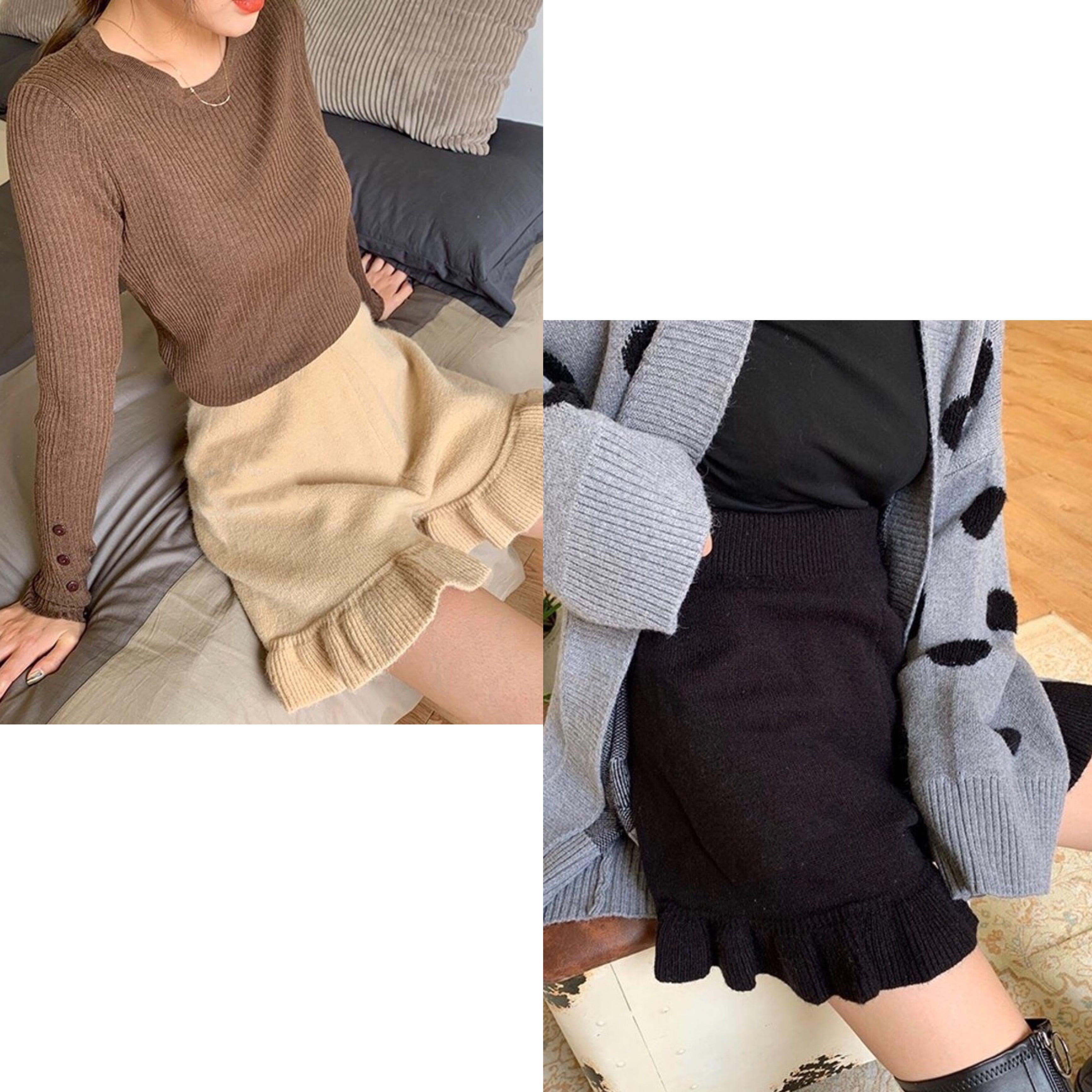 【BEIGE:即納】フリル付きニットショートパンツ