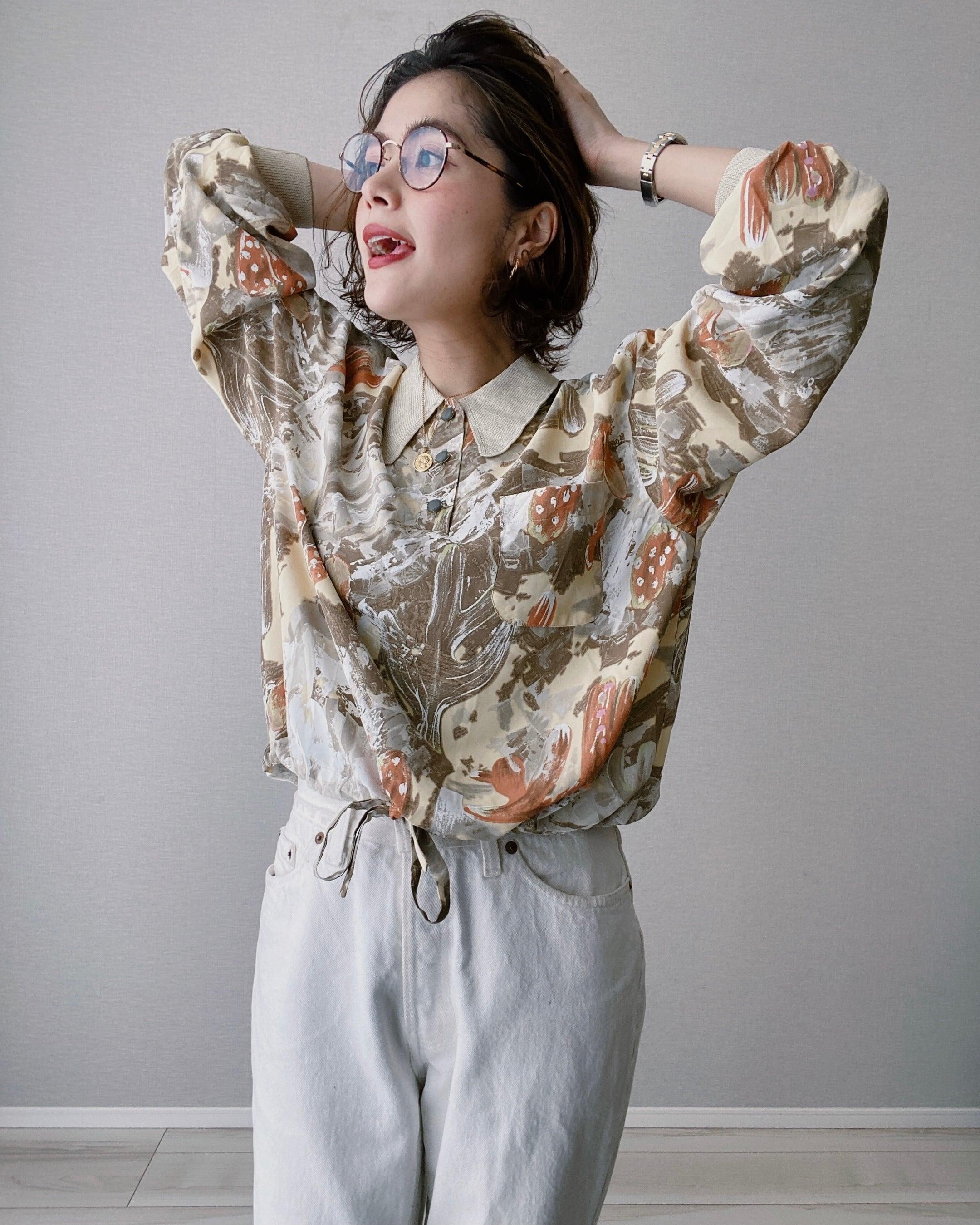 (SH036)Knit collar printed blouse