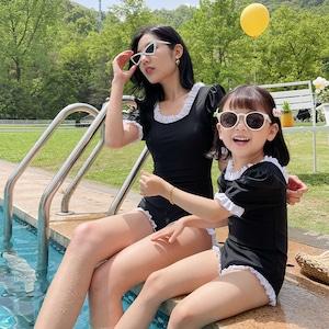 キッズ水着 親子揃い 子供水着 女児水着 女の子水着 ロンパース水着 フリル ジュニアスイミング ウェア 9325