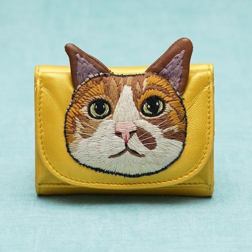 ねこミニ財布 camel cat/GOLD