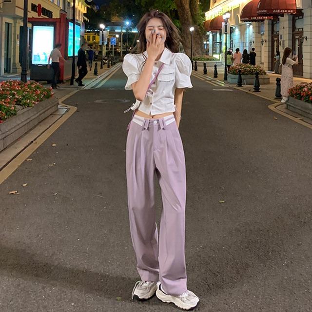 【セット】「単品注文」ファッション半袖シングルブレストPOLOネックショート丈シャツ+パンツ43228454