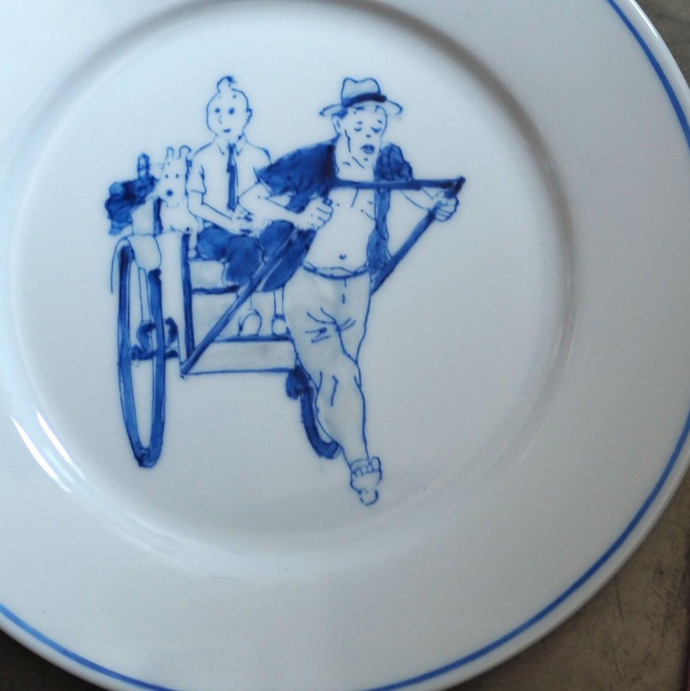 『手描き/タンタンのブレッド皿』Blue&White/香港