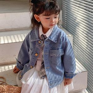子供服 キッズ デニムジャケット 秋 服 女の子 長袖 トップス ジージャン パール1504