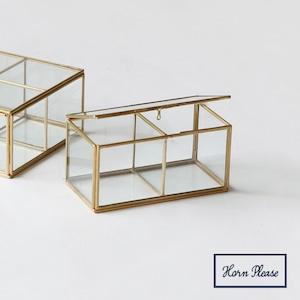 ガラスボックス2仕切りジュエリーボックスガラス2仕切り 真鍮フレームジュエリーボックス SI-308970