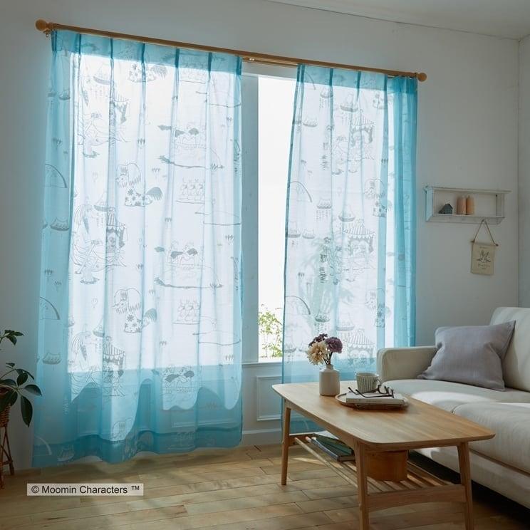 【最短8営業日で出荷】ボイルレースカーテン ムーミン 「EPIC エピック ブルー」 (幅×丈):100×133cm(2枚組) ab-a1016