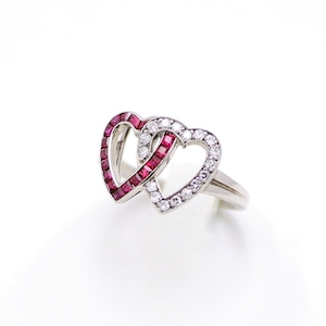 DIAMOND & RUBY DOUBLE HEART RING by J.E.Caldwell ダイヤモンド&ルビー ダブルハートリング