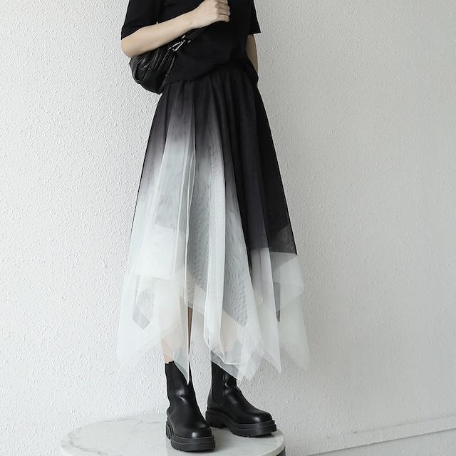 【KEN STUDIOシリーズ】★スカート★ 2color ロング丈 チュール 不規則 クラーデション 合わせやすい