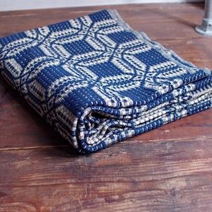 American Antiques / Eight Shaft Weaving Patterns Hand Woven Indigo Blanket / インディゴ ブランケット