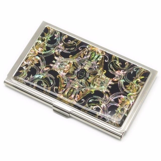 天然貝 名刺カードケース(フェザーアート)シェル・螺鈿アート