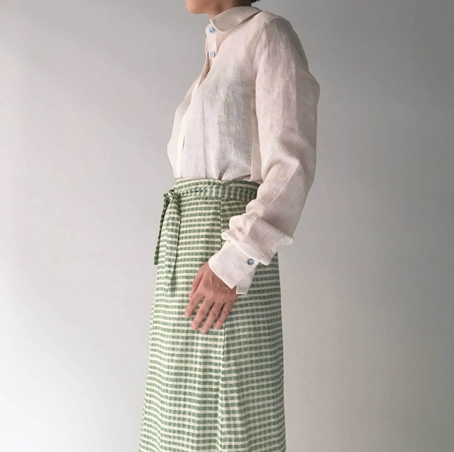 """Wrapped Skirt """"green gingham check"""""""