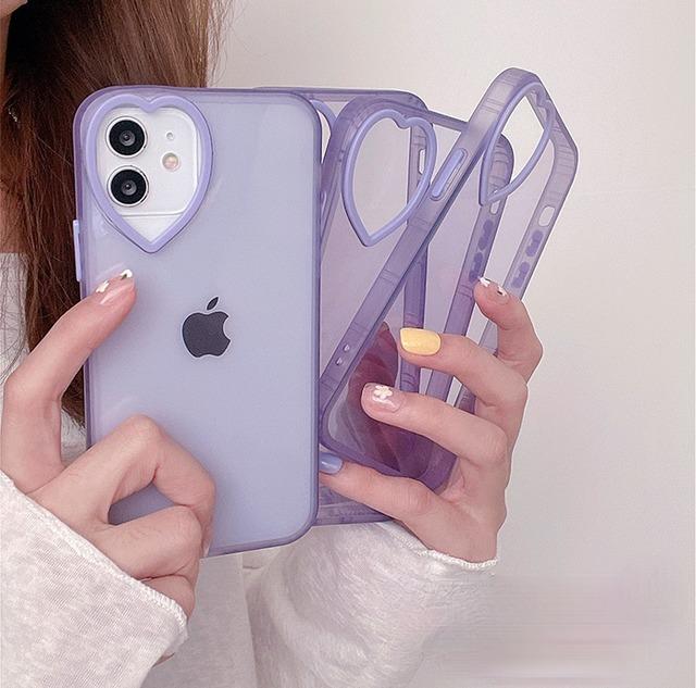 Transparent purple heart iphone case