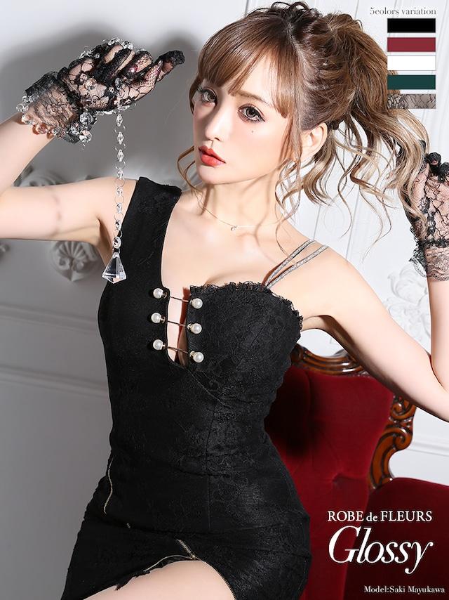 【 ROBE de FLEURS Glossy】パールピン×ストレッチタイトミニドレス[付け替え紐付き](GL2192)