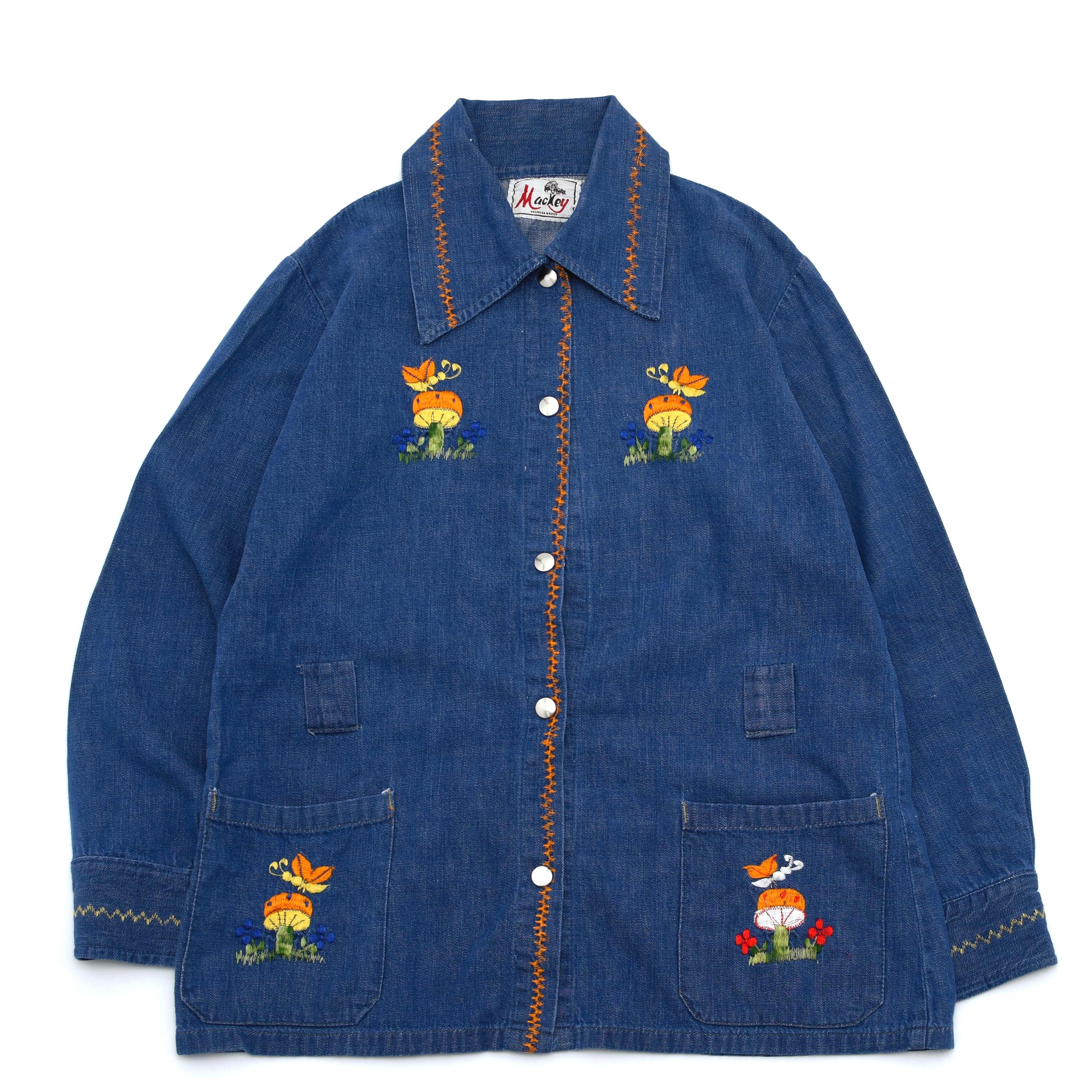 70's embroidery hippie denim shirt