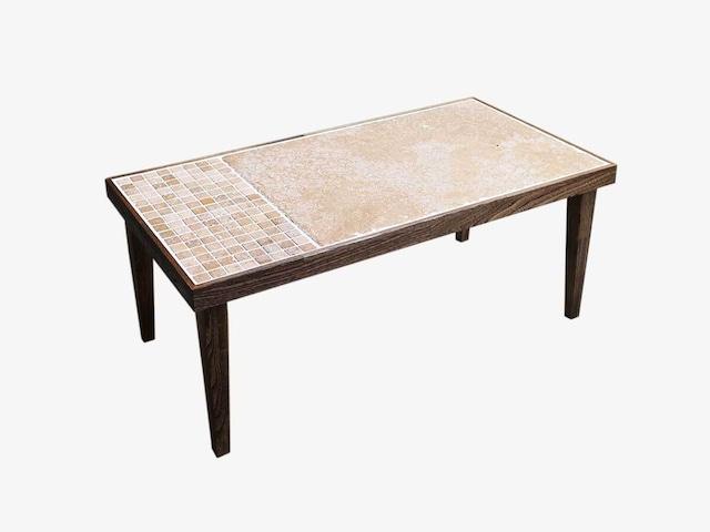 天然石のモザイクとタモ材のローテーブル 一点物