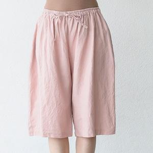 タリン、フレンチリネン5分丈パンツ 朝焼けのうすピンク