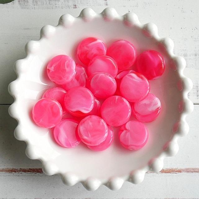 【458b-p2】4pcs  ストーン調 コイン アクリルビーズ ピンク 15×4.5mm