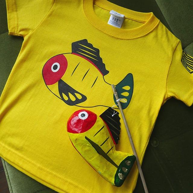 【送料無料】キッズ黄ぶなTシャツと黄ぶな張子セット【疫病退散シリーズ】
