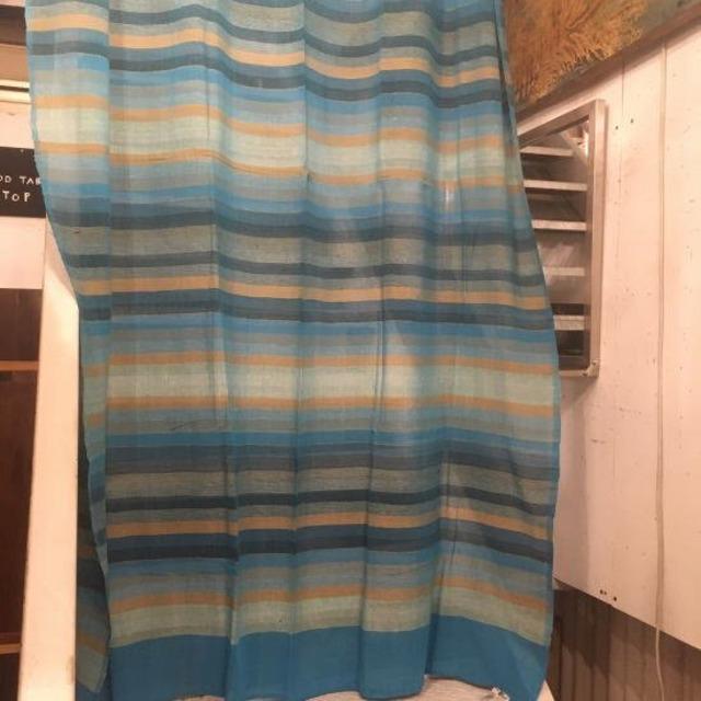 ストライプ柄イタワ織りマルチクロス 150×225cm ブルー