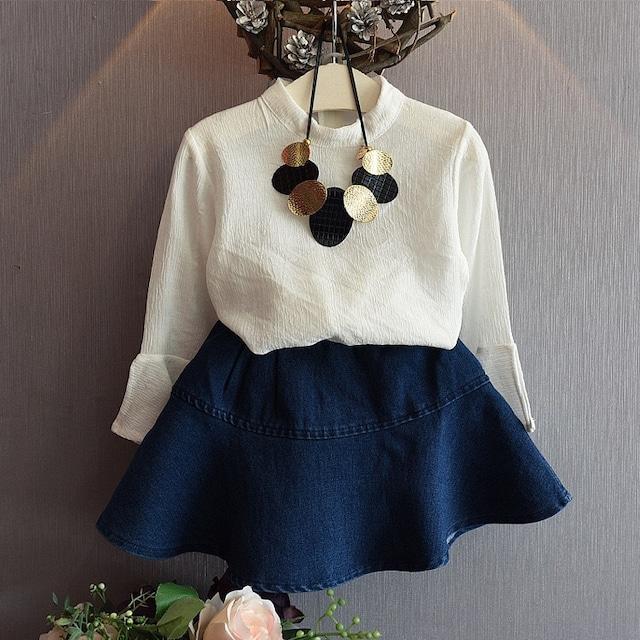 フレアスリーブシャツ×デニムスカート 2点セット【516】