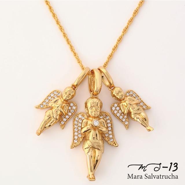 【MS-13】K18GP エンジェル チャーム トリプルセット(ゴールド)※チェーン付き