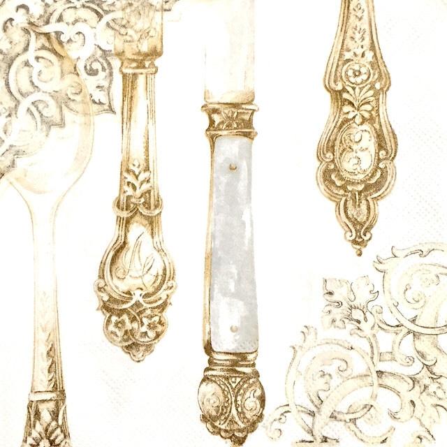 【IHR】バラ売り2枚 ランチサイズ ペーパーナプキン CUTLERY パールホワイト×ゴールド
