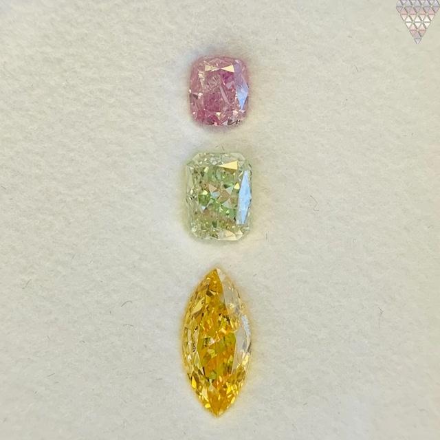 合計  0.62 ct 天然 カラー ダイヤモンド 3 ピース GIA  3 点 付 マルチスタイル / カラー FANCY DIAMOND 【DEF GIA MULTI】