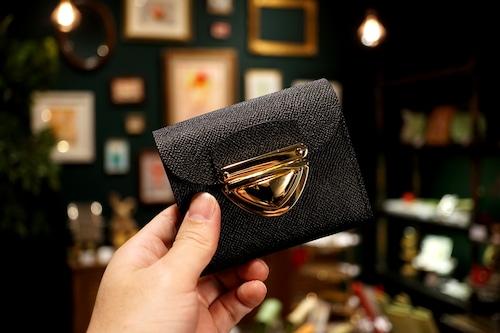 身軽にキメたい時のコンパクト財布|P式/パーティーレザー・ブラック(本革製)