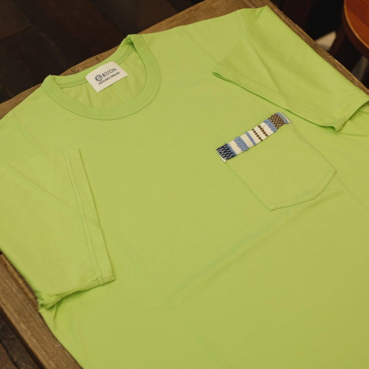 KUON(クオン) 胸ポケット裂き織り 半袖Tシャツ ライム
