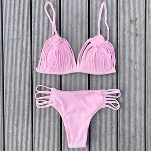Bikini♡ストラッピーギャザービキニ ピンク