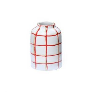 CANASA (カナサ) Flower vase (フラワーベース・花器) チェック柄 S【レッド①】
