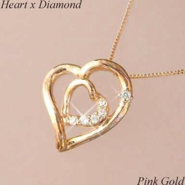 ダイヤモンド ネックレス 18金ピンクゴールド レディース ハートモチーフ k18pg