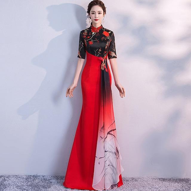 【宝石嫁衣シリーズ】★改良型チャイナドレス★ 3color 成人式ドレス S~4L 着痩せ マーメイドライン 赤 青 緑