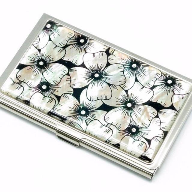 天然貝 名刺カードケース(ハナミズキ)シェル・螺鈿アート