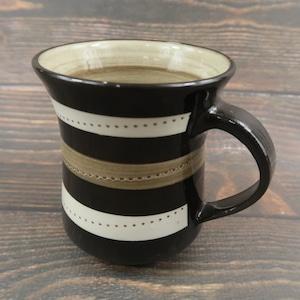 小石原焼 手付きマグカップ ベージュ茶 白トビ 鶴見窯