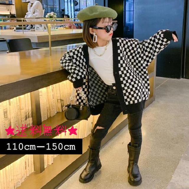 【110cm-150cm】大人気☆チェック柄 ニットコート (394)