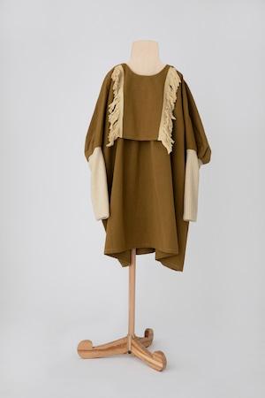 【21AW】folkmade(フォークメイド)fringe dress ワンピース khaki beige(LL)