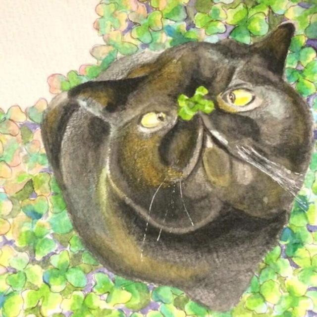 絵画 絵 ピクチャー 縁起画 モダン シェアハウス アートパネル アート art 14cm×14cm 一人暮らし 送料無料 インテリア 雑貨 壁掛け 置物 おしゃれ 猫 ネコ ねこ 黒猫 クローバー 四つ葉のクローバー 動物 アニマル 水彩画 イラスト 家 : ゆりんぐ 作品 : 黒猫は四つ葉のクローバーを探すのが得意