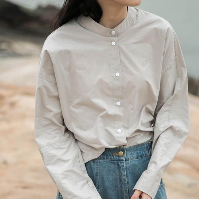 シンプルバンドカラーシャツ 4colors