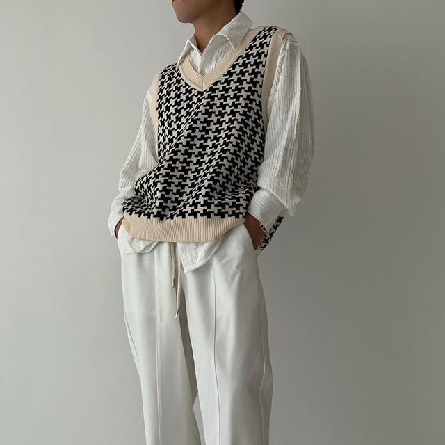 Retro check pullover vest   b-449