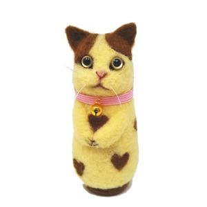 【カステラハートねこ】首輪(ピンク)×金の鈴