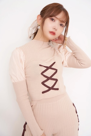 Lace up  Knit Tops