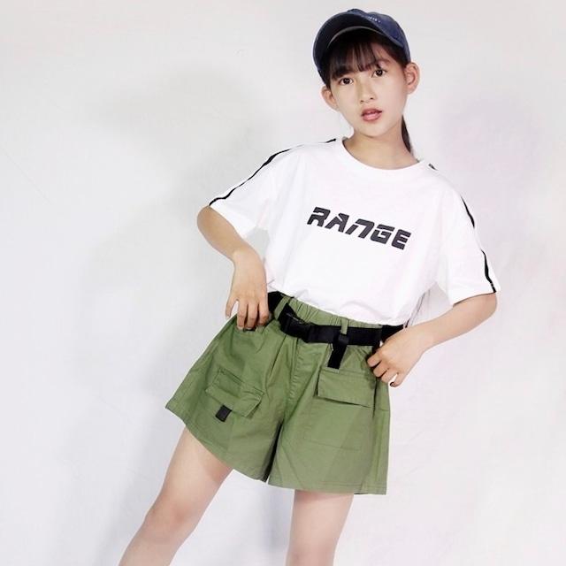 110~170cm 2カラー ★ ロゴ Tシャツ + カーゴ ショート パンツ 2点セット