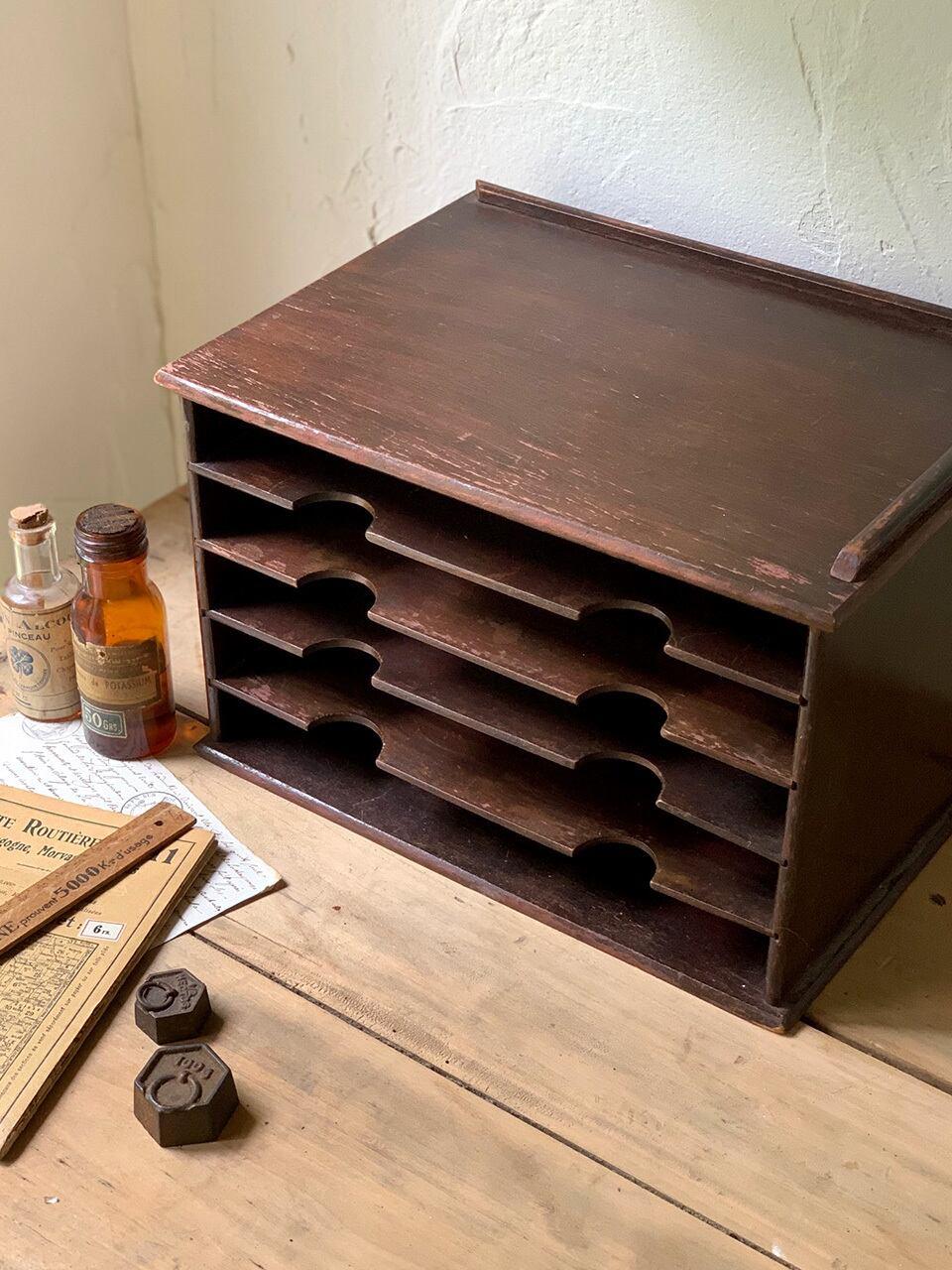 焦げ茶 5段 木製レターラック カルテケース