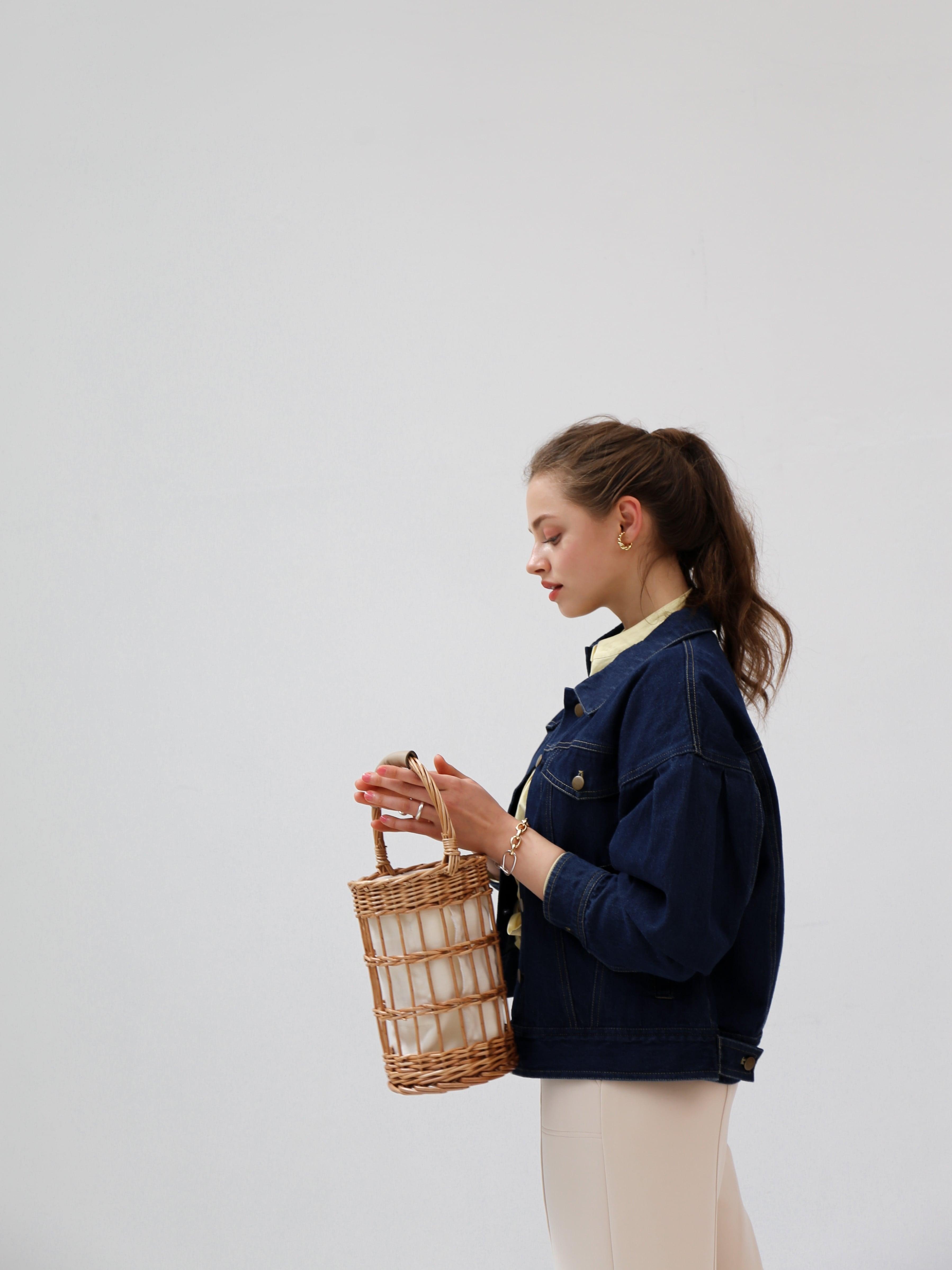 puff sleeve denim jacket(dark indigo )
