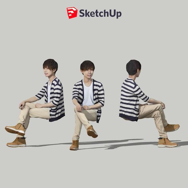 SketchUp素材 3D人物モデル ( Posed ) 035_Toru - メイン画像